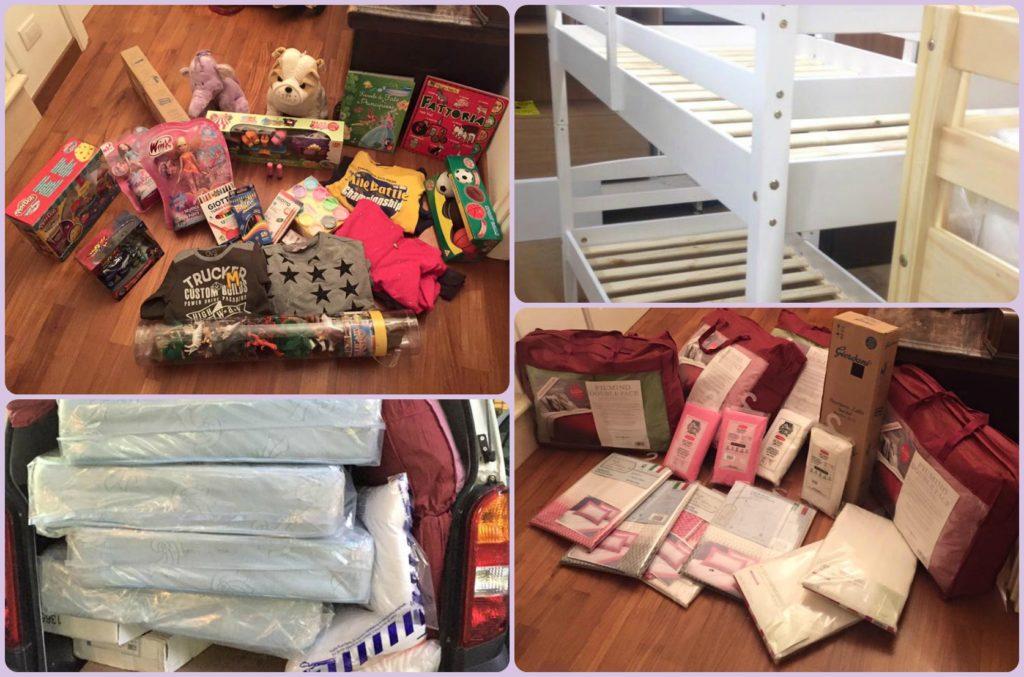 collage donazione famiglia